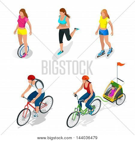 Isometric Bicycle. Family Cyclists. Roller Skating girl. Electric One Wheel Self-Balancing Unicycle Scooter. Girl running. Active isometric vector People. Healthy Lifestyle.