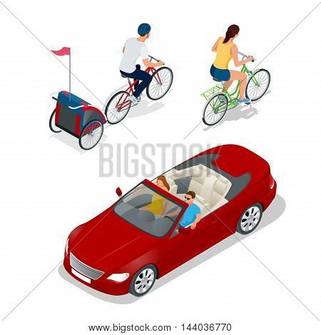 Bicycle with child carrier. Isometric Bicycle. Family Cyclists. Cabriolet car. Transport for summer travel. Sports car vehicle. Flat 3d vector illustration
