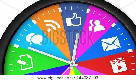 Social media time management and web strategy concept with a clock and social network icon 3D illustration.