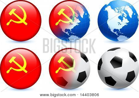 USSR Flag Button with Global Soccer Event Original Illustration poster