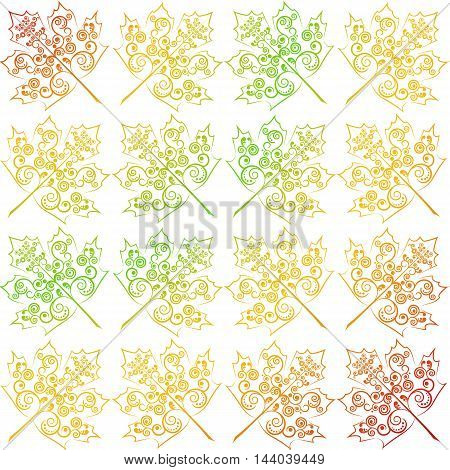 Vector illustration. Seamless pattern. Stylized autumn maple leaves decorated with a delicate tendril floral ornament