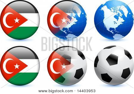 Gaza Flag Button with Global Soccer Event Original Illustration poster