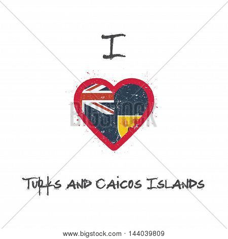 I Love Turks And Caicos Islands T-shirt Design. Turks And Caicos Islander Flag In The Shape Of Heart