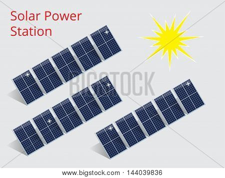 Vector isometric illustration of a solar power station. Extraction of energy from renewable sources. Generation of electricity using solar energy.