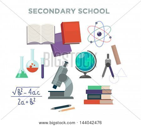 Secondary school supplies. Vector isolated objects.