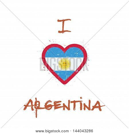 I Love Argentina T-shirt Design. Argentinean Flag In The Shape Of Heart On White Background. Grunge