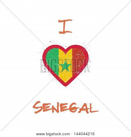 I Love Senegal T-shirt Design. Senegalese Flag In The Shape Of Heart On White Background. Grunge Vec