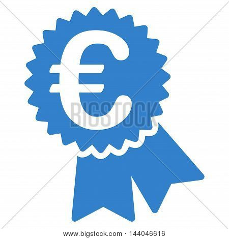 Euro Featured Price Tag icon. Glyph style is flat iconic symbol, cobalt color, white background. poster