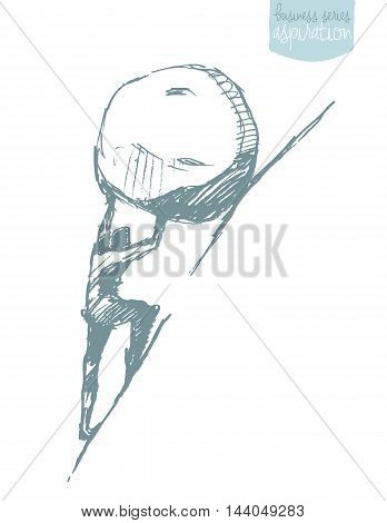 Young businessman pushing large stone uphill, vector illustration, sketch. Sisyphus myth.