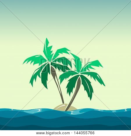 Tropical island and palm trees illustration. Plant coco on background vector