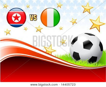 North Korea versus Ivory Coast on Abstract Red Background with Stars Original Illustration poster