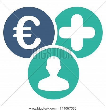 Euro Medical Expences icon. Vector style is bicolor flat iconic symbol with rounded angles, cobalt and cyan colors, white background.