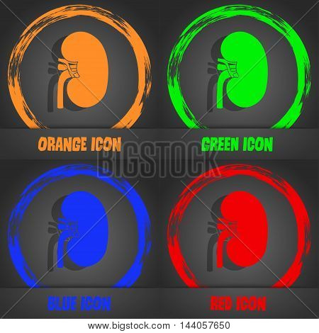 Kidney Icon. Fashionable Modern Style. In The Orange, Green, Blue, Red Design. Vector