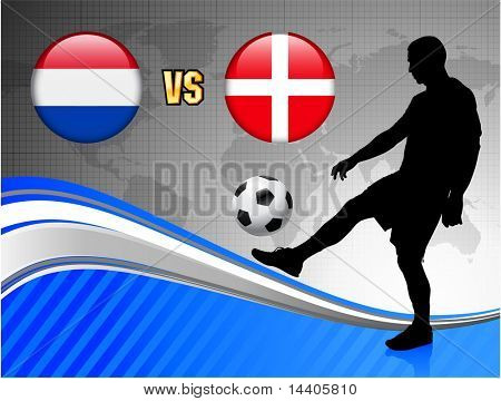 Netherlands versus Denmark on Blue Abstract World Map Background Original Illustration poster