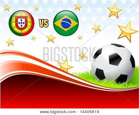 Portugal versus Brazil on Abstract Red Background with Stars Original Illustration poster