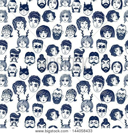 Doodle style seamless pattern of a diverse people faces from different cultural and ethnic backgrounds. Trendy vector wallpaper.