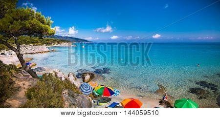 Beautiful Orange beach on the east coast of Sithonia peninsula, Halkidiki, Greece.