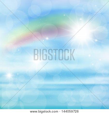 Abstract image of a rainbow on blue sky with sun glare, rainbow