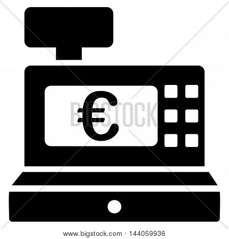 Euro Cashbox icon. Vector style is flat iconic symbol with rounded angles, black color, white background.