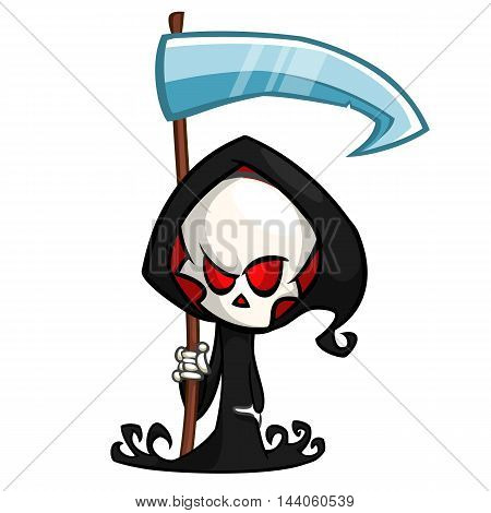 Cute cartoon grim reaper with scythe isolated on white. Cute Halloween skeleton death character