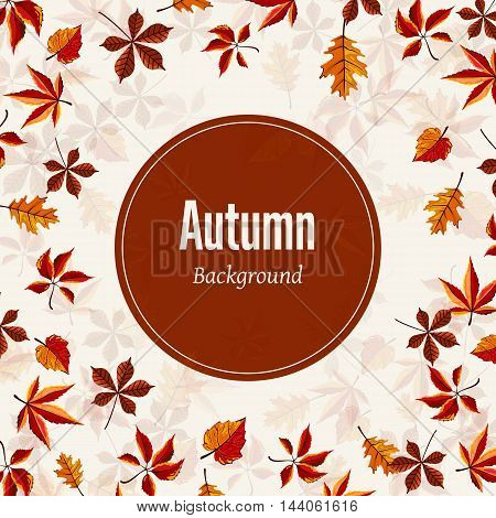 Autumn leaves fall on border vector illustration. Background with hand drawn autumn leaves. Design elements.Autumn leaves concept. Different autumn leaves. Abstract leaves. Autumn frame.
