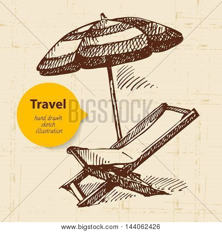 Vintage travel background with beach armchair and umbrella. Hand drawn illustration