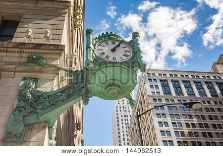 Chicago Marshall Field's Clock in downtown 2016