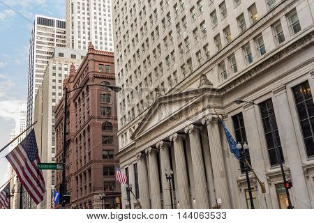 Chicago - March 14 2015: Federal Reserve Bank of Chicago (informally the Chicago Fed) on La Salle Street.