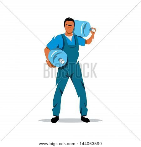 Cheerful young deliveryman holding a water jug. Isolated on a white background