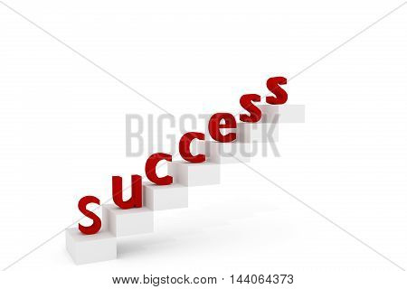 Red Success letters on stairs ramping up to the top 3D rendered illustration