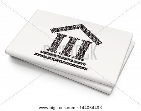 Law concept: Pixelated black Courthouse icon on Blank Newspaper background, 3D rendering