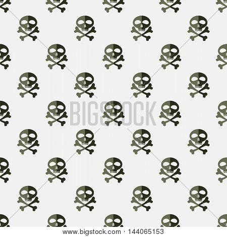 Skull Cross Bones Seamless Pattern. Skull Isolated on White