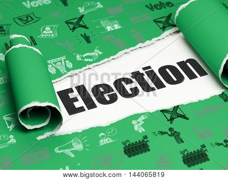 Political concept: black text Election under the curled piece of Green torn paper with  Hand Drawn Politics Icons, 3D rendering