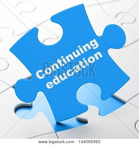 Studying concept: Continuing Education on Blue puzzle pieces background, 3D rendering