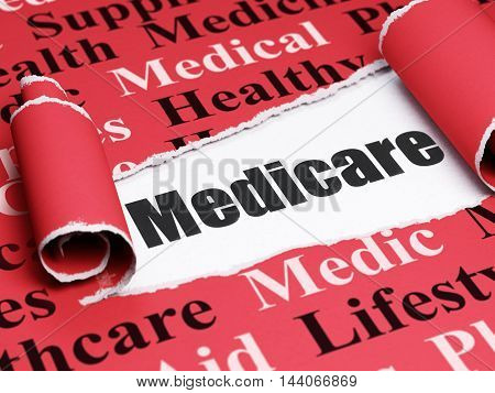 Medicine concept: black text Medicare under the curled piece of Red torn paper with  Tag Cloud, 3D rendering
