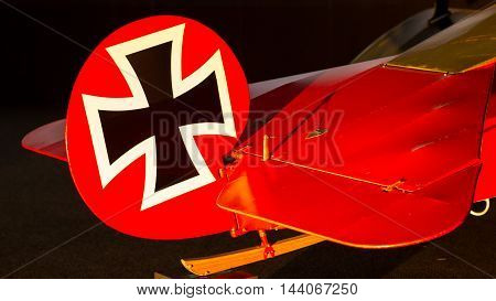 Close-up Of An Old German Triplane, Iron Cross Painting