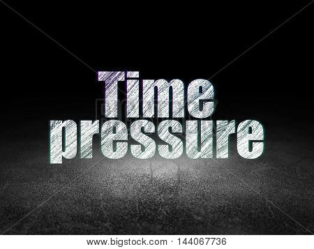 Time concept: Glowing text Time Pressure in grunge dark room with Dirty Floor, black background