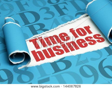 Time concept: red text Time for Business under the curled piece of Blue torn paper with  Hexadecimal Code, 3D rendering
