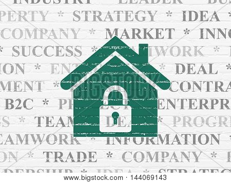 Business concept: Painted green Home icon on White Brick wall background with  Tag Cloud