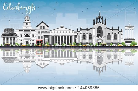 Edinburgh Skyline with Gray Buildings, Blue Sky and Reflections. Vector Illustration. Business Travel and Tourism Concept with Historic Buildings. Image for Presentation Banner Placard and Web Site.