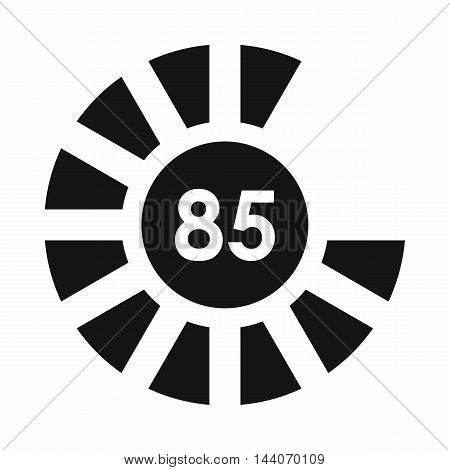 Sign 85 load icon in simple style isolated on white background. Loading symbol