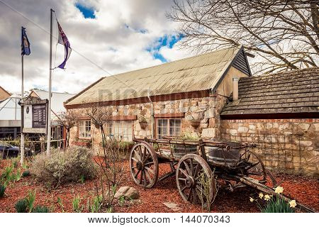 Adelaide Australia - August 13 2016: Old Mill Hotel in the town of Hahndorf Adelaide Hills area South Australia. View from the main street.