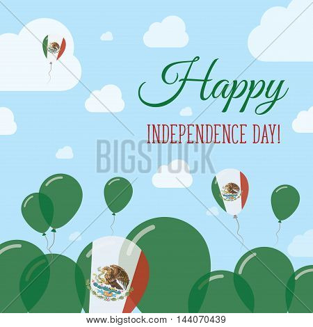 Mexico Independence Day Flat Patriotic Design. Mexican Flag Balloons. Happy National Day Vector Card