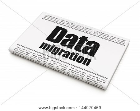 Data concept: newspaper headline Data Migration on White background, 3D rendering