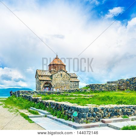 SEVAN ARMENIA - MAY 31 2016: The Sevanavank Monastery is one of the most visitable complex famous among locals and foreign tourists on May 31 in Sevan