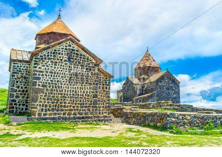 The beautiful stone churches of Sevanavank Monastery have the same architecture design Sevan Armenia.