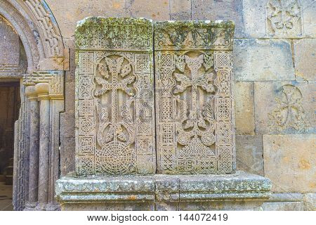 The amazing carved patterns on the medieval khachkars created by 13th century carver Pavgos in Goshavank Monastery Gosh Armenia.