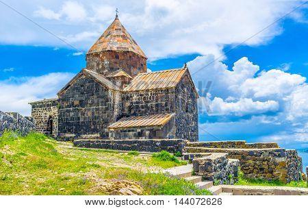 The Sevan Peninsula boasts medieval preserved stone Sevanavank Monastery Armenia.