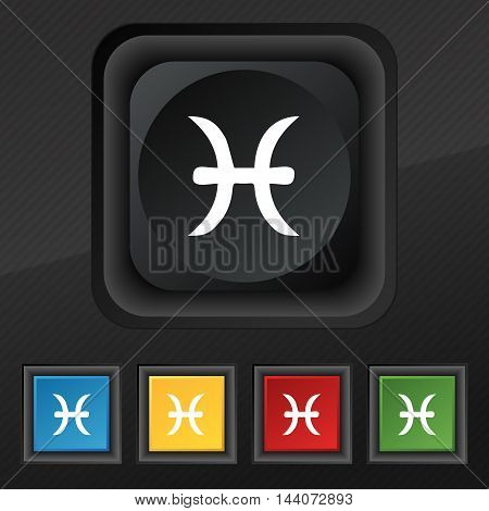 Pisces Zodiac Sign Icon Symbol. Set Of Five Colorful, Stylish Buttons On Black Texture For Your Desi