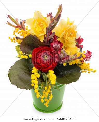 Special design flower bouquet in a decorative pail